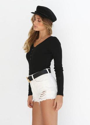Черная футболка длинным рукавом лонгслив натуральная вырезом к...