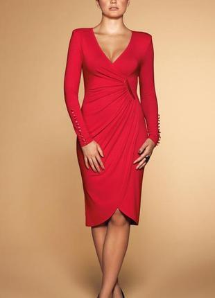 Платье 48 50 размер нарядное миди вечернее  весеннее красное б...