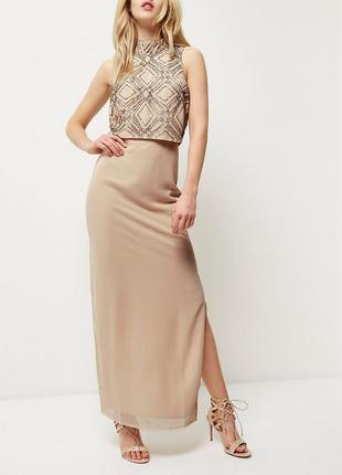 Вечернее нюдовое платье макси с топом вышитым бесером
