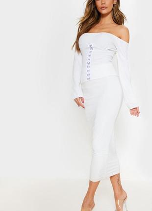Белый, нарядный кроп топ , блузка с длинными рукавами