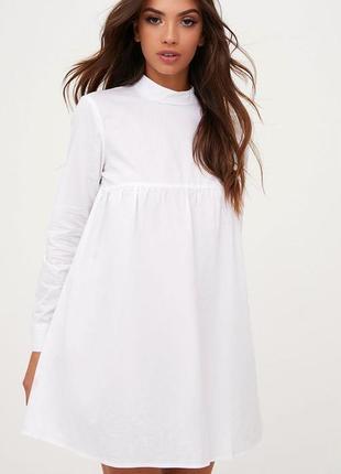 Белое летнее   платье мини свободного кроя  с длинными рукавами