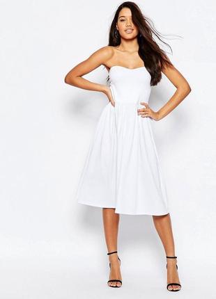 Летнее белое платье  миди бандо
