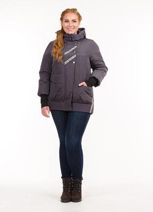 Женская демисезонная куртка с манжетами цвет графит