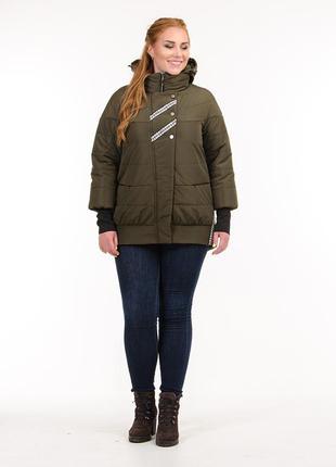 Женская демисезонная куртка с манжетами хаки
