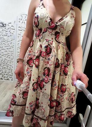 Платье нежное пышное индия узор женственное летнее m сарафан