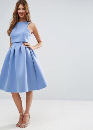 Пышное неопреновое платье миди, кроп топ