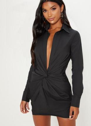 Черное платье рубашка с длинными рукавами