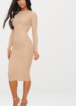 💎нюдовое платье миди с длинными рукавами в рубчик