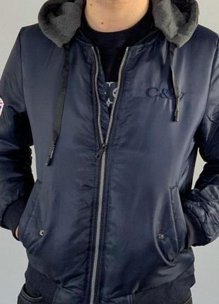 Стильная мужская утепленная демисезонная куртка, бомбер с трик...