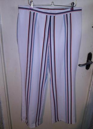 Шикарные,белые брюки в разноцветную полоску,высокая посадка,бо...