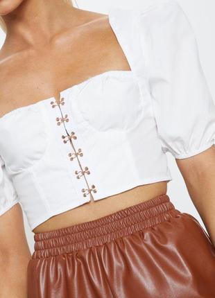 Белый коттоновый кроп топ, блузка,  с объемными рукавами