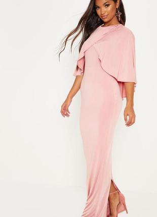 Вечернее пудровое розовое платье макси