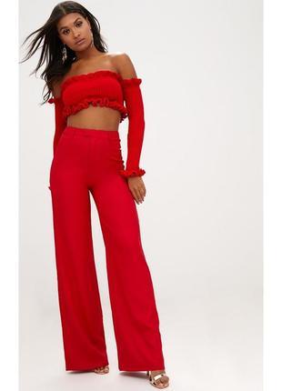 Красные классические  брюки, высокая талия