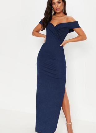 Синее вечернее платье макси с высоким разрезом на ноге