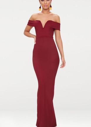 Вечерние платье макси винного цвета с v-образным вырезом
