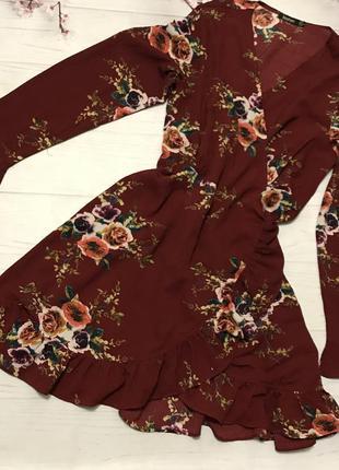 Платье цветы цветастое миди волан шикарное от boohoo