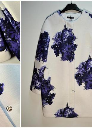 Легкое пальто кардиган весеннее в цветы