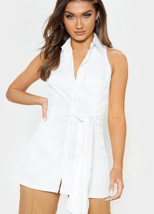 Белоснежная летняя удлиненная блузка с поясом