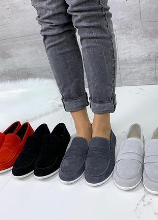 Серые замшевые туфли на низком каблуке,серые замшевые лоферы,с...