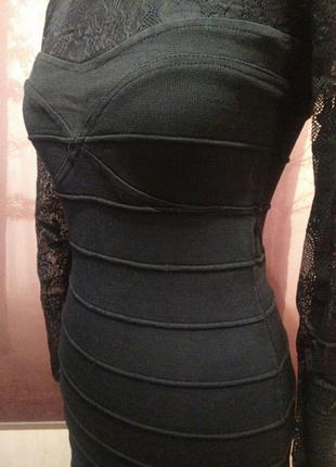 Платье-бюстье бандажное  черное с гипюром