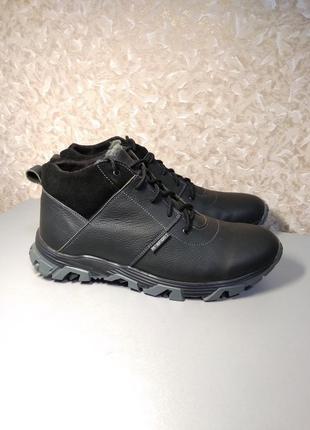 Мужские черный зимние кроссовки из натуральной кожи 44 размера