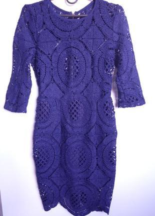 Шикарное платье из вязанного кружева