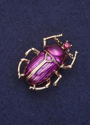 Брошь жук фиолетовая эмаль