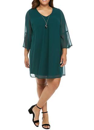 Воздушное нарядное платье v-образным вырезом, ожерелье, р.ххл,...