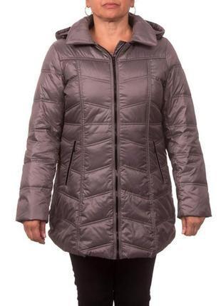 Женское пуховое пальто chevron quilt на молнии с капюшоном, р.1х