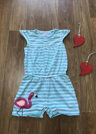 Крутой ромпик шорты комбинезон фламинго в полоску lupilu 1,5-2...