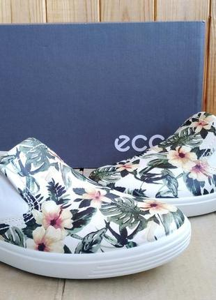 Стильные новые кожаные слипоны мокасины летние туфли ecco ориг...