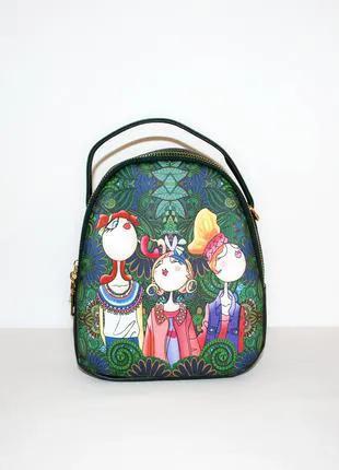 Сумка рюкзак с принтом, женская сумка, зеленый рюкзак