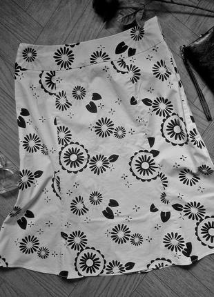Летняя юбка-колокольчик gap белая с черным #розвантажуюсь