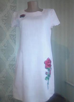 Платье с вышивкой цвет пудра 46р