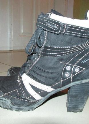 Кожанные ботинки tamaris. оригинал. 39 размер (стелька 25,5 см)