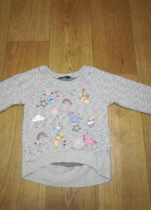Реглан, свитер с начесом, удлиненная спинка на 3-4 годика george