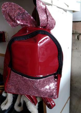 Лаковый рюкзак с ушками, пайетки