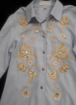 Пастельно голубая рубашка с камнями сваровски от итальянского ...