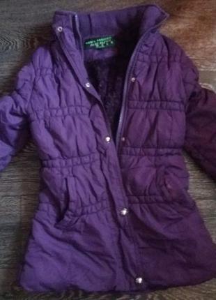 Теплая удлиненная курточка на девочку 140см pure blown