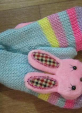 Женские/подростковые рукавички, варежки на флисе зайка