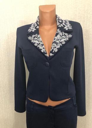 Итальянский трикотажный пиджак темно синего цвета