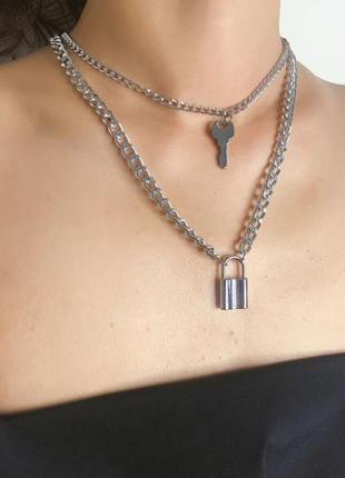 Ожерелье массивная цепь с крупными звеньями с подвеской замок ...