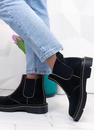 Женские ботинки челси натуральная кожа черные