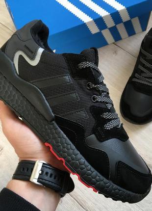 Зимние мужские кроссовки ботинки adidas nite jogger black