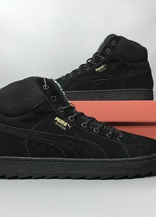 Зимние мужские кроссовки ботинки puma suede black