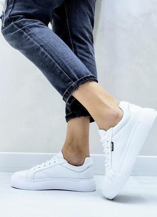 Белые кожаные кеды кроссовки мокасины балетки слипоны