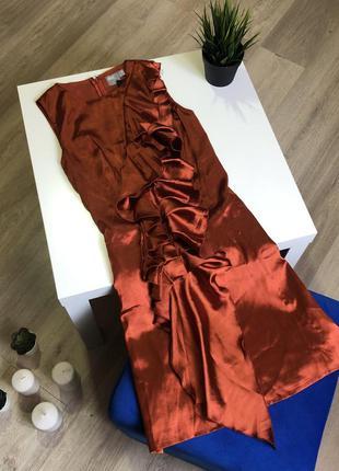 Сатиновое платье трапеция с оборками без рукавов asos