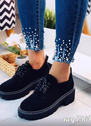Стильные черные туфли броги на платформе