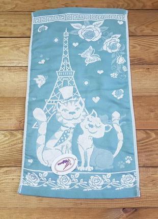 """Полотенце для рук и кухни """"cats"""" 26*50, ментол"""