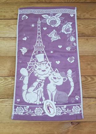 """Полотенце для рук и кухни """"cats"""" 26*50, фиолетовый"""